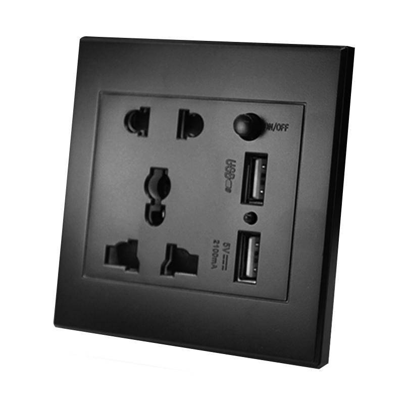 JADETIGER Black 86X86MM 2.1A Dual USB Wall Charger Socket Adapter Universal Power Outlet Panel with Switch