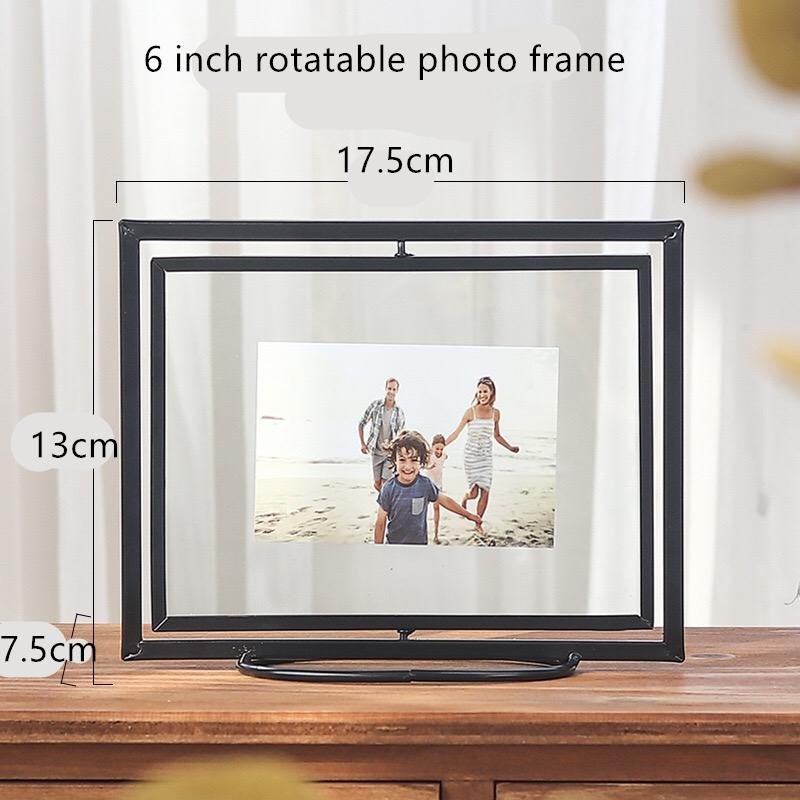 6 inch metal glass photo frame bedroom living room rotating folding art photo frame