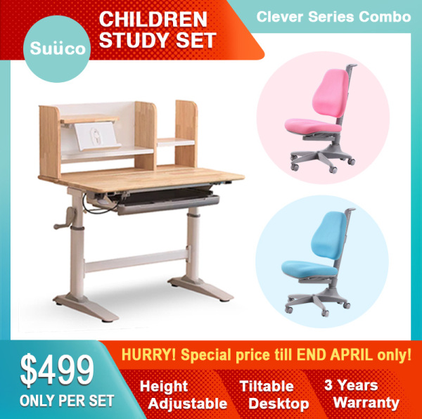 Suuco Clever Series Combo | Study Table & Study Chair For Kids | Study Desk & Study Chair for Children | Height Adjustable Study Table & Chair for Children | Height Adjustable Study Desk & Chair for Kids