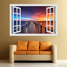 Best Price 60X90Cm 3D Window View Wall Sticker Home Decor Decals Wood Bridge Seaside Sunset Beautiful Scenery Wallpaper Murals Art Pvc