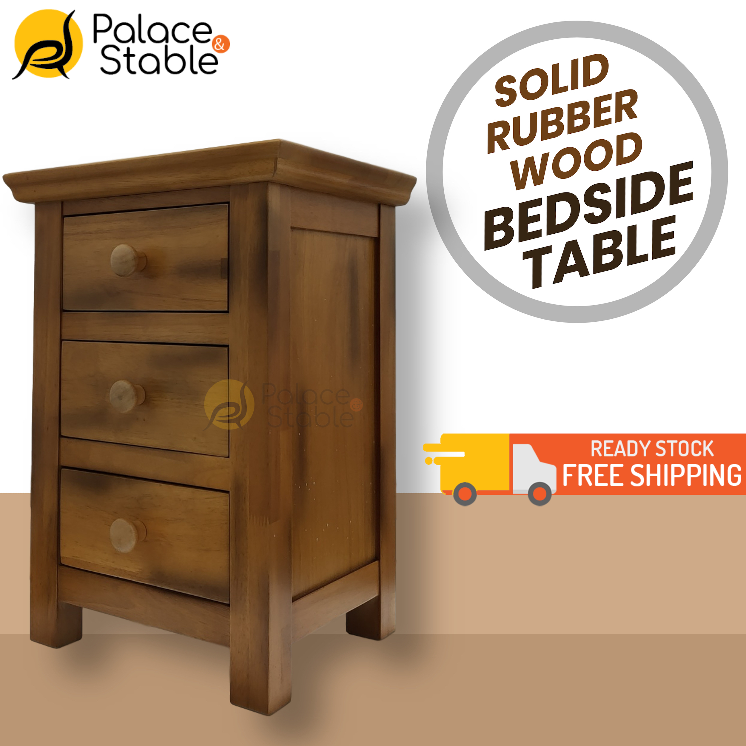 BALI, Solid Rubber Wood Bedside Table