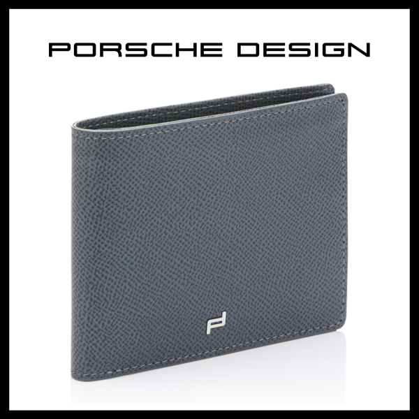 Grey Leather Wallet Porsche Design French Classic 4.0 Billfold LV9 SLG