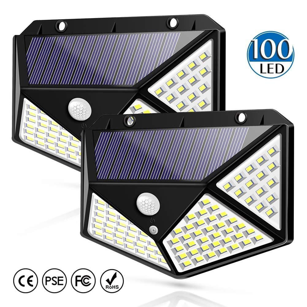 100 LED Solar Waterproof Outdoor Lamp PIR Motion Sensor Wide Angle Wall Light for Pathway Garden