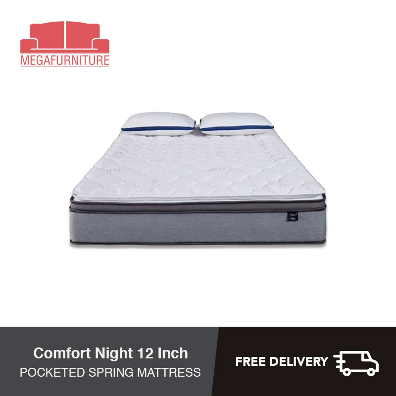 Comfort Night 12 Inch Teflon Fabric Latex Individual Pocketed Spring Mattress - Single, Super Single, Queen, King