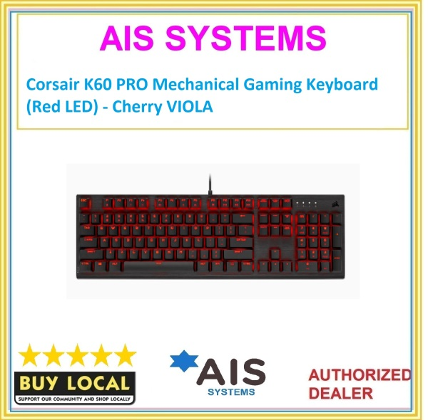 Corsair K60 PRO Mechanical Gaming Keyboard (Red LED) - Cherry VIOLA Singapore