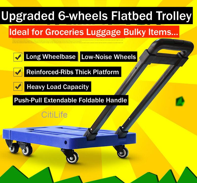 Foldable Trolley 6 Spinning Wheel, Expandable And Compact Easy To Keep  Up to 150kg Load Easy Maneuver