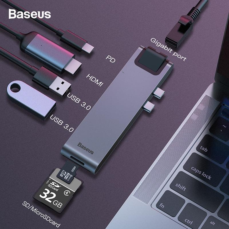 [SG Seller] Baseus USB C Hub, Dual Type C 7-in-1 USB C Adapter with Thunderbolt 3 (40GPs),RJ45, USB C Power Delivery, 4K/60Hz HDMI, USB3.0, SD/MicroSD Card Reader for MacBook Pro 2016/2017/2018 [Local Warranty]