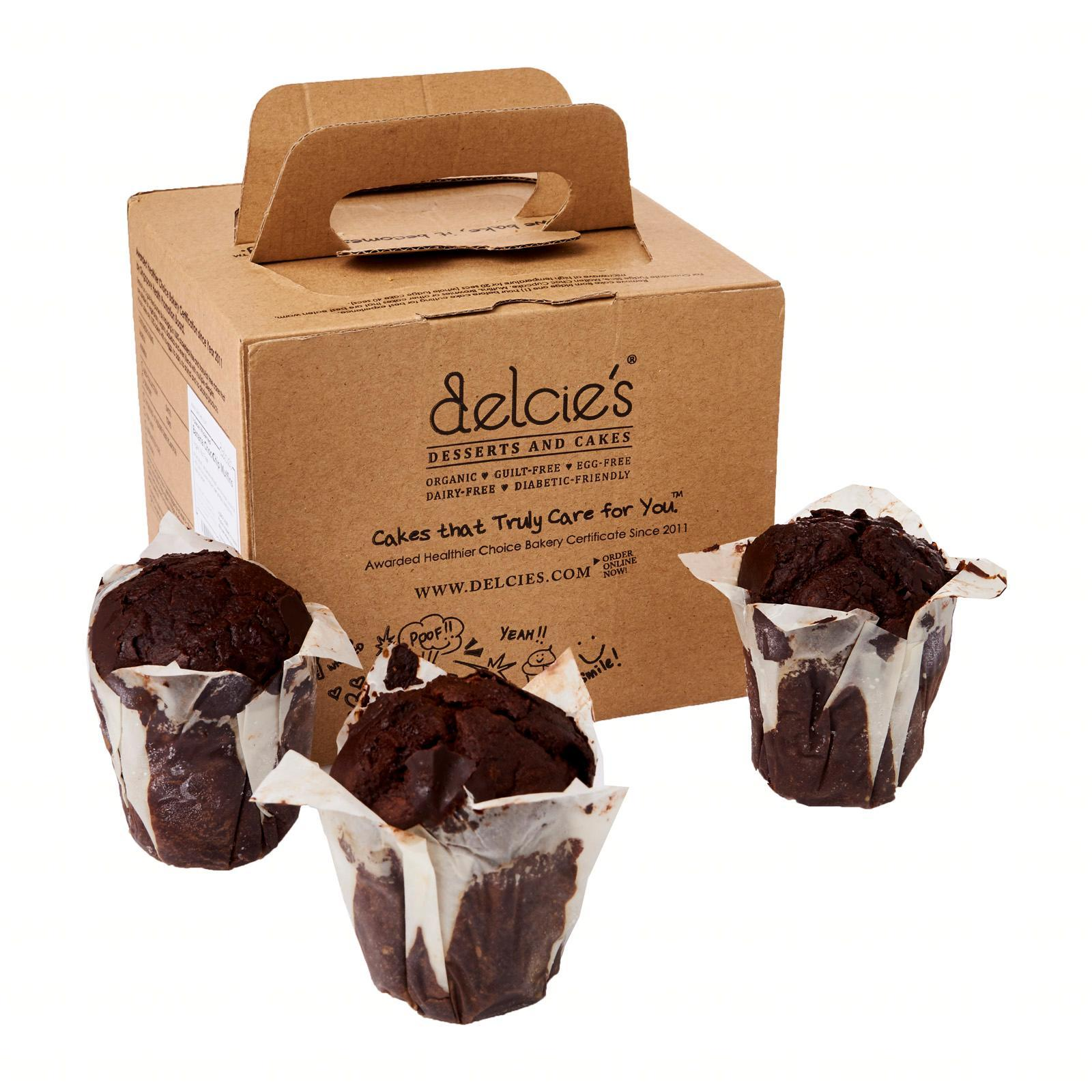 Delcie's Desserts and Cakes Vegan Gluten-Free Nut-Free Refined Sugar-Free Double Chocolate Chip Muffins - Frozen