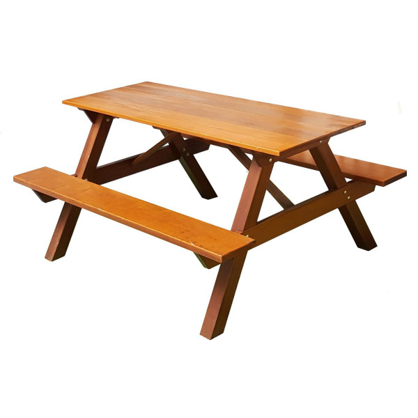 Outdoor Furniture, Chengal Wood BBQ Table / Wooden Picnic / Study Table / Bench Set 1.5 (Honey Pine)
