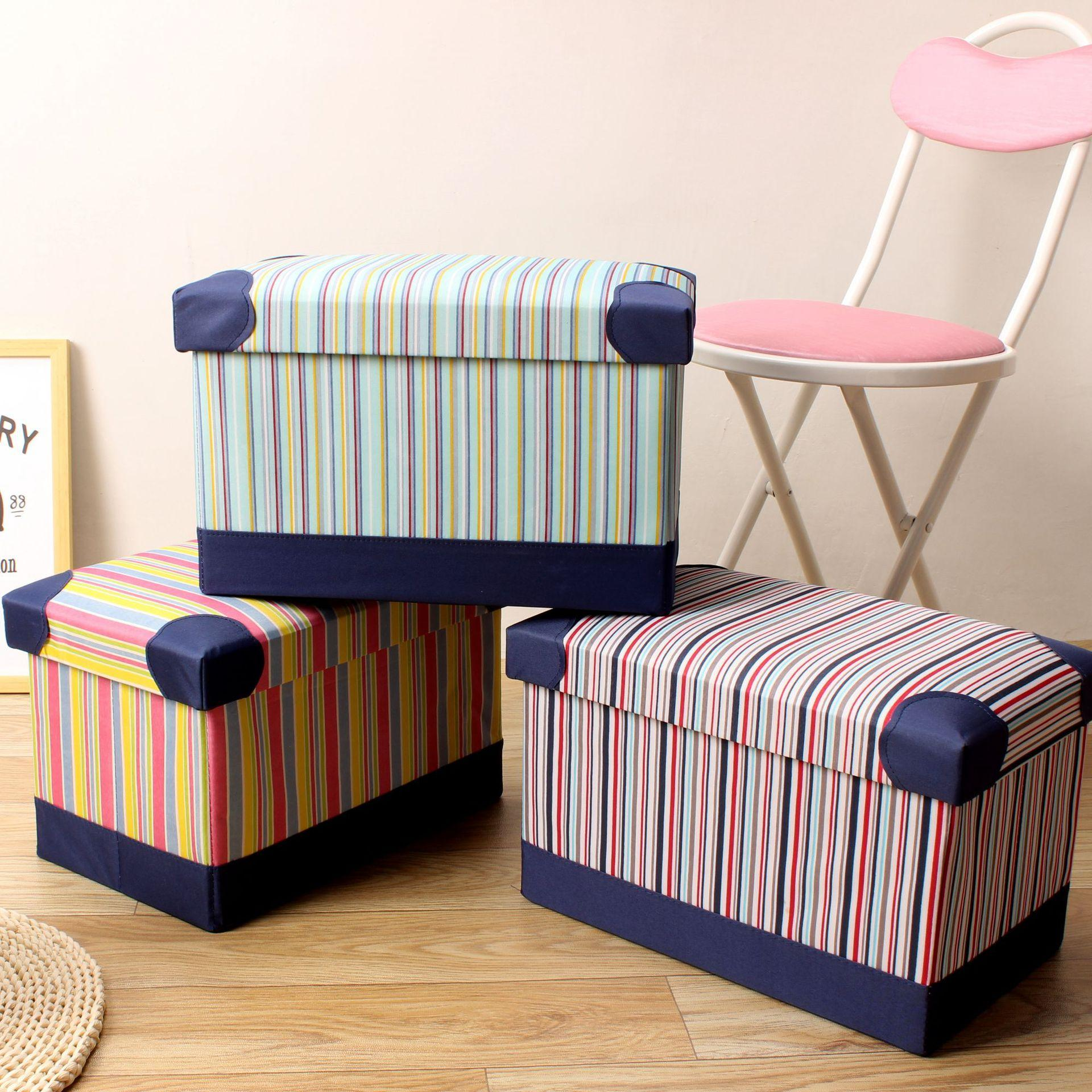 2019 New Products Leather Stripes New Style Storage Chair Japanese Style Foldable Leather Storage Stool Large Size Feet Stool