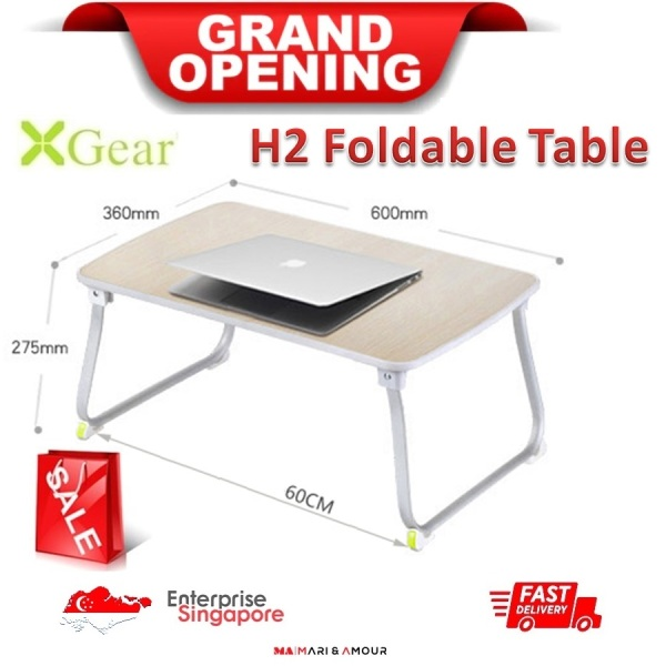 ★ XGear H2 Foldable Portable Laptop Desk, Study Table, Bed Stand, Foldable Laptop Standing Desk, Ergonomic Office Stand-up Stand, Ergonomic Standing Workstation ★ 520mm x 292mm x 6mm ★ SG Ready Stock★
