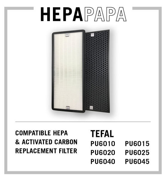 TEFAL Compatible Replacement HEPA & Activated Carbon Filters XD6071 XD6061 Suitable For TEFAL PU6010 PU6015 PU6020 PU6025 PU6040 PU6045 PU6085 [Free Alcohol Swabs] [HEPAPAPA] Singapore