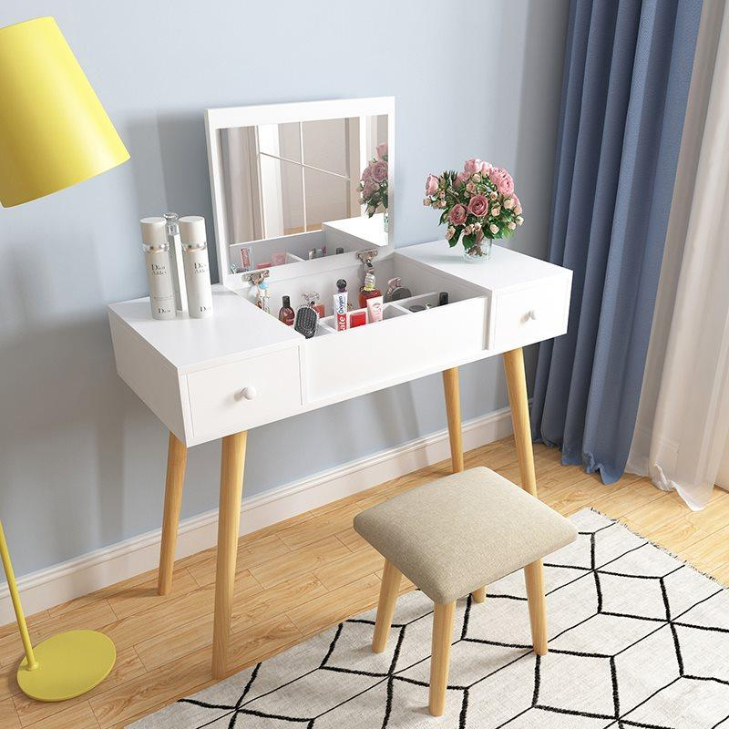 White Fold Down Mirror Dressing Makeup Table With Chair - 90cm