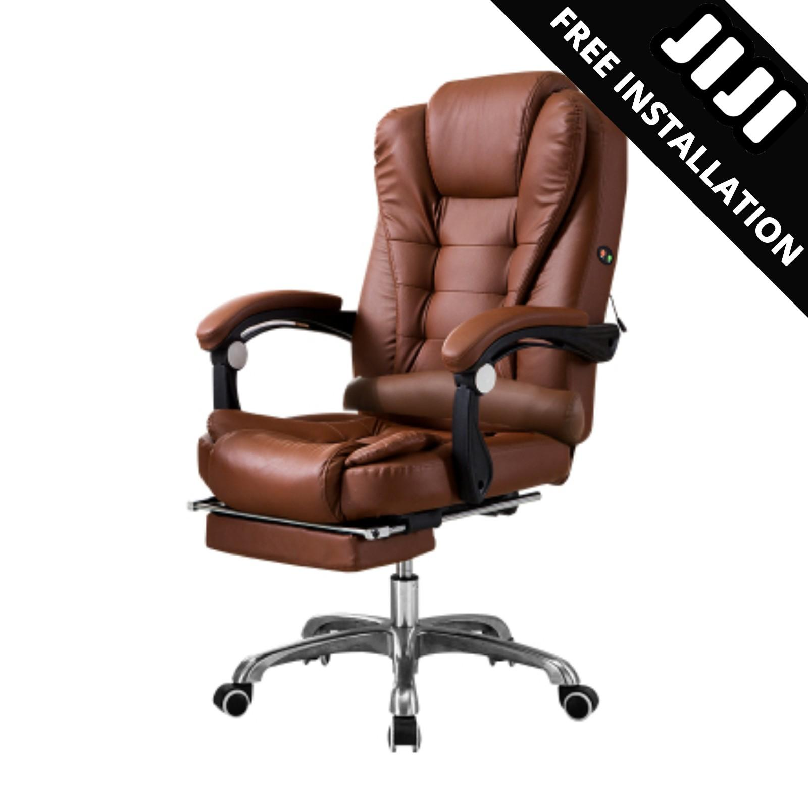 JIJI BOSS Office Chair With Legrest & Massage Functions (Free Installation) - Home Office Chairs / Supreme ★Leather ★Office Furniture ★Grand ★Ergonomic ★Quality / Free 12 Months Warranty (SG)