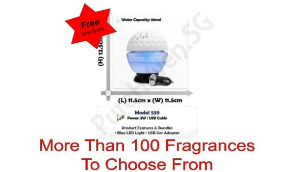 [BNIB] FOC 30ml Scent Liquid! Model 539 Golfball Mini Car Water Air Purifier 200ml. With Blue LED Lights Singapore