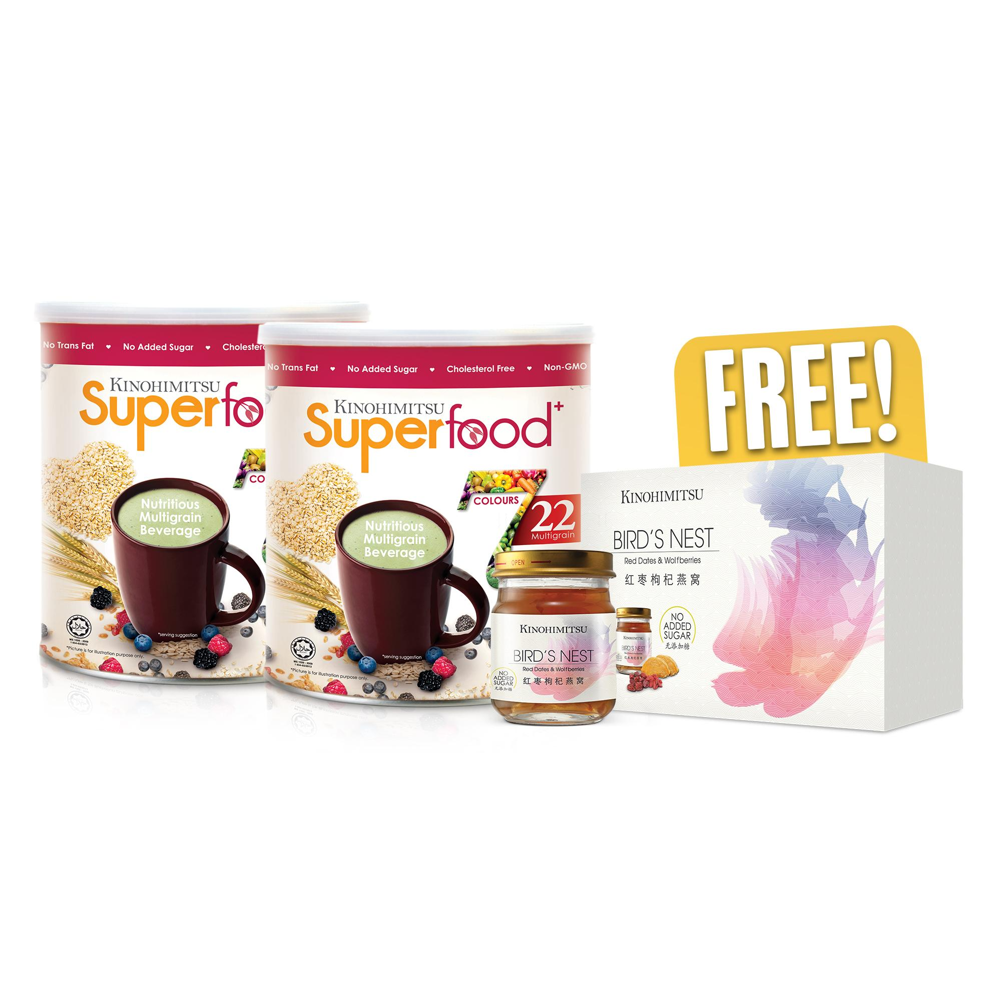 Kinohimitsu Superfood+ 500g x 2 Packs + Free Bird's Nest with Red Dates and Wolfberries 6's