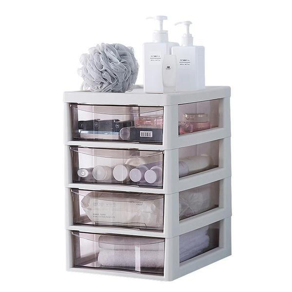 4 Tier Desktop Organiser Drawer with Clear Tray - White