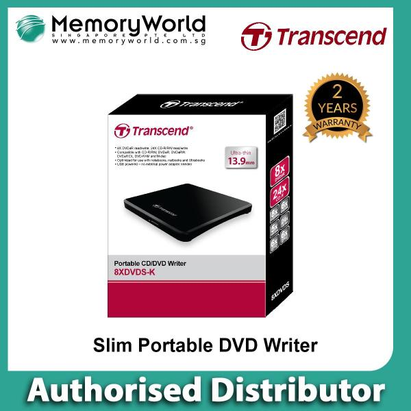 [TRANSCEND Authorised Distributor] TRANSCEND 8X External Slim Portable USB DVD Writer (Black) . Local Singapore Warranty 2 Year