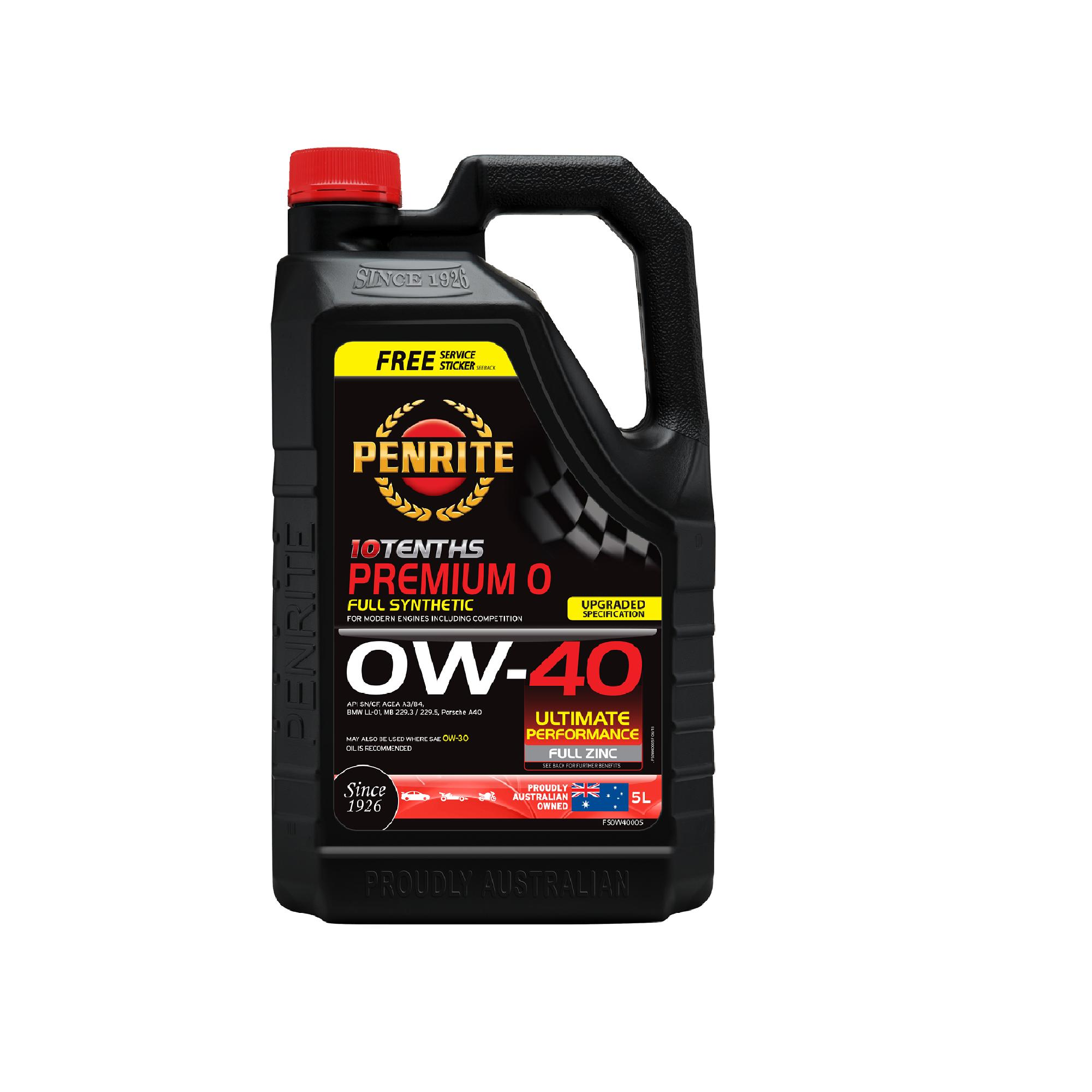 10 TENTHS PREMIUM 0W-40 (Full Synthetic) 5L Engine Oil (0W40)