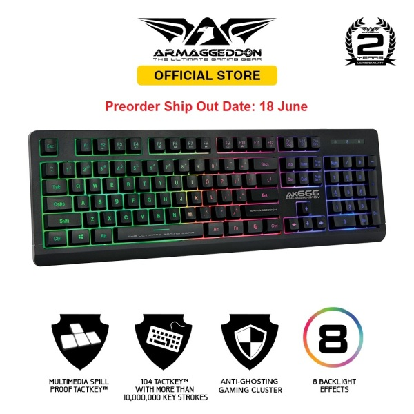 [Preorder] Armaggeddon Kalashnikov AK666 Anti-Ghosting And Spill Proof Backlit Keyboard - 8 Lighting Effect Singapore