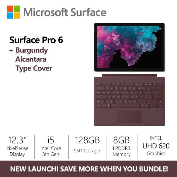 [SALE] Microsoft Surface Pro 6 i5/8gb/128gb Platinum + Burgundy Alcantara  Type Cover Bundle