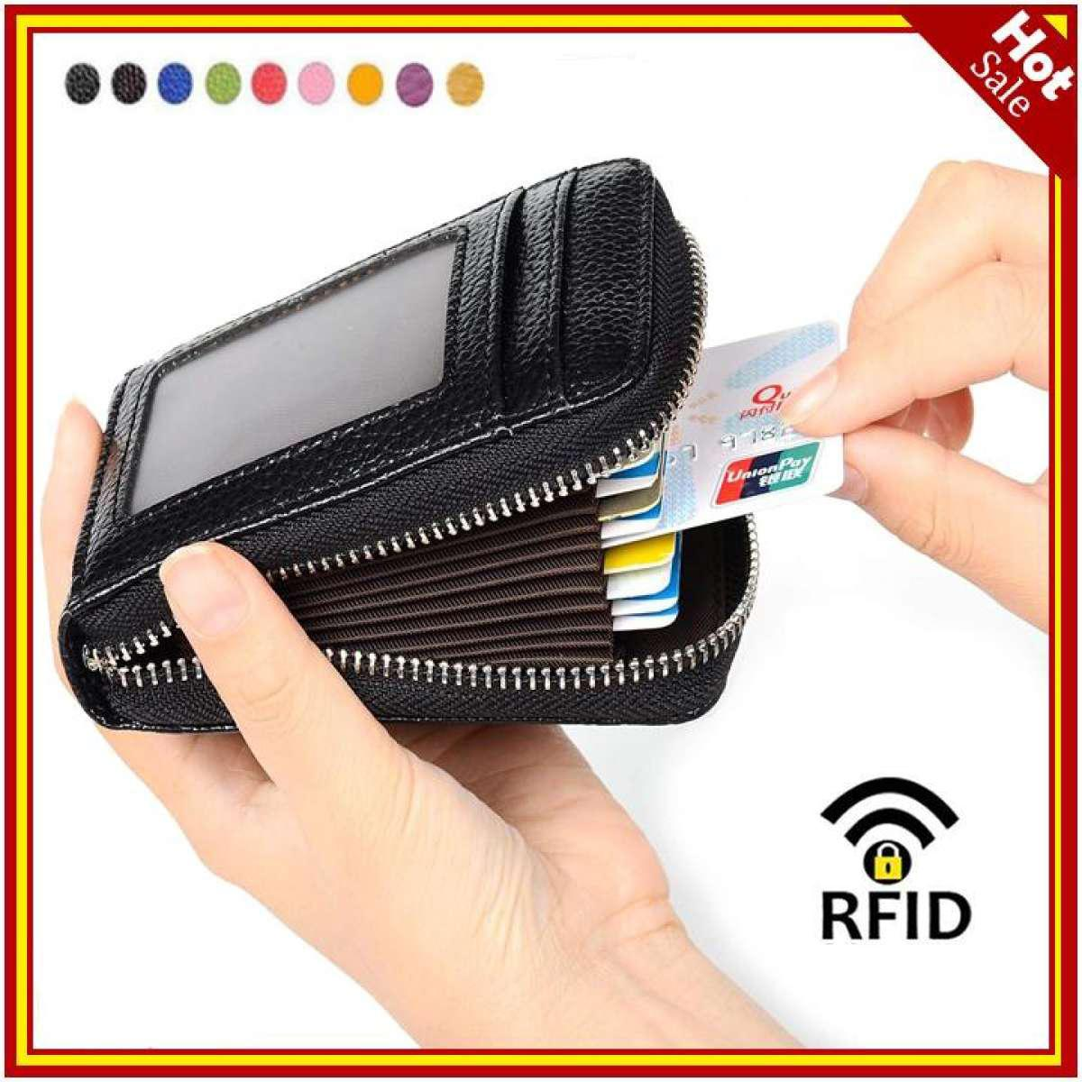 RFID Blocking Genuine Leather Credit Card Case Holder Security Travel Wallet Front Pocket Wallets for Men