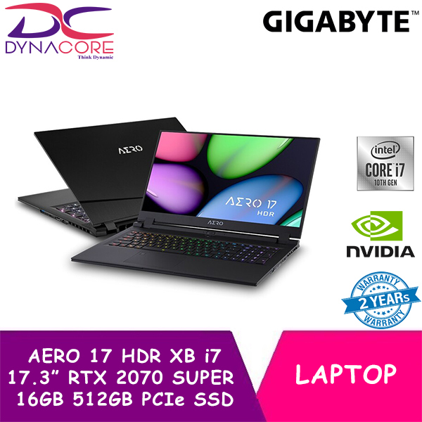 DYNACORE - GIGABYTE AERO 17 HDR XB - 8SG4130SP (i7-10875H/16GB DDR4 2933 (8GBx2)/GeForce RTX 2070 Super GDDR6 8GB Max-Q/512GB M.2 PCIE SSD/17.3inch Thin Bezel HDR Adobe RGB 100% UHD Display/WINDOWS 10 PRO