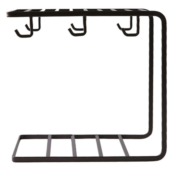 Kitchen Supplies Multi-Functional Innovative Iron Stand Supporter Drying Rack Water Bottle Mug Holder Cup Rack Hanger Dark Coffee