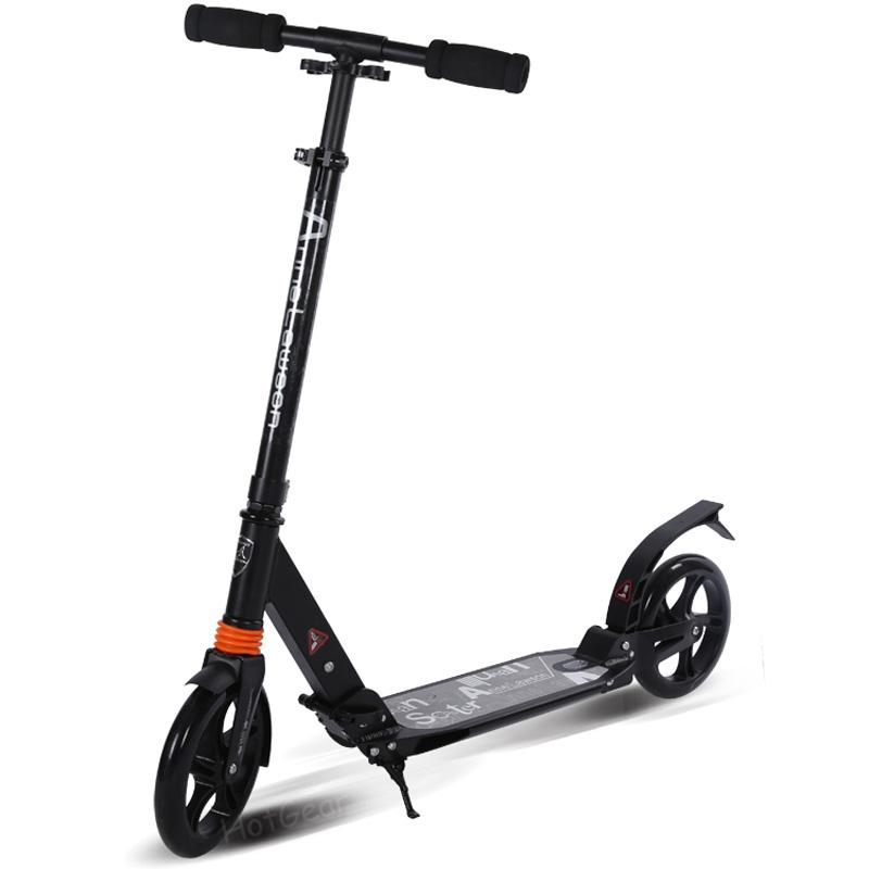 Foldable Kick Scooter For Adult Teens - City Urban Street Scooters Easy Folding Fold Dual Suspension Aluminum Alloy Frame Adjustable T Handlebar Big Wheel Ball Bearing Long Rear Fender Foot Brake For Kid Adults Kids Age 8 Above (black) By Hotgear.