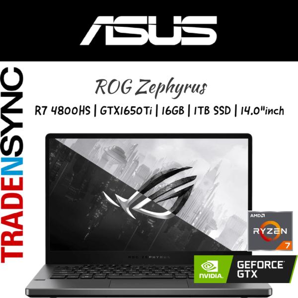 ASUS ROG Zephyrus | GA401II-GTX1650Ti | AMD R7 4800HS | 16GB RAM | 1TB SSD | GTX1650Ti with 4GB GDDR6 | 14.0FHD 120Hz | 1.7KG | W10 HOME | 2YR WARRANTY | ROG Zephyrus G14 GA401II-GTX1650Ti  with AniMe Matrix™
