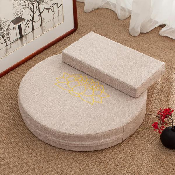 Buddhism Buddha Pad Meditation Pad Flax Fabric Futon Embroidered LOTUS da zuo dian Buddhist Prayer Room Prayer Mat Prayer Mats Washable