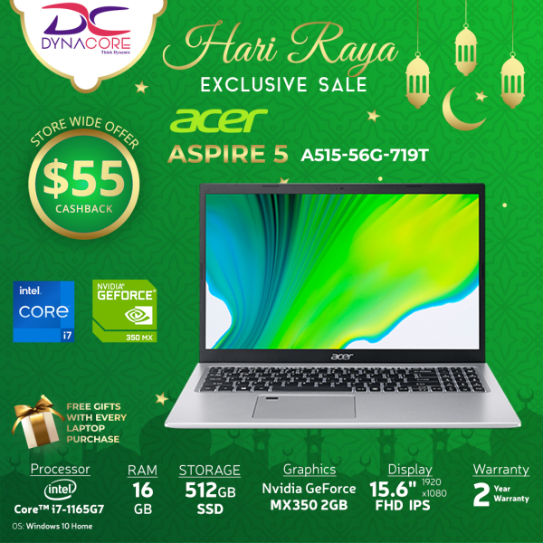 【DELIVERY IN 24 HOURS】DYNACORE - Acer Aspire 5 A515-56G-719T - 15.6 FHD Laptop with Latest 11th Gen Intel Core I7-1165G7 Processor and 16GB RAM 512GB PCIE SSD GEFORCE MX350