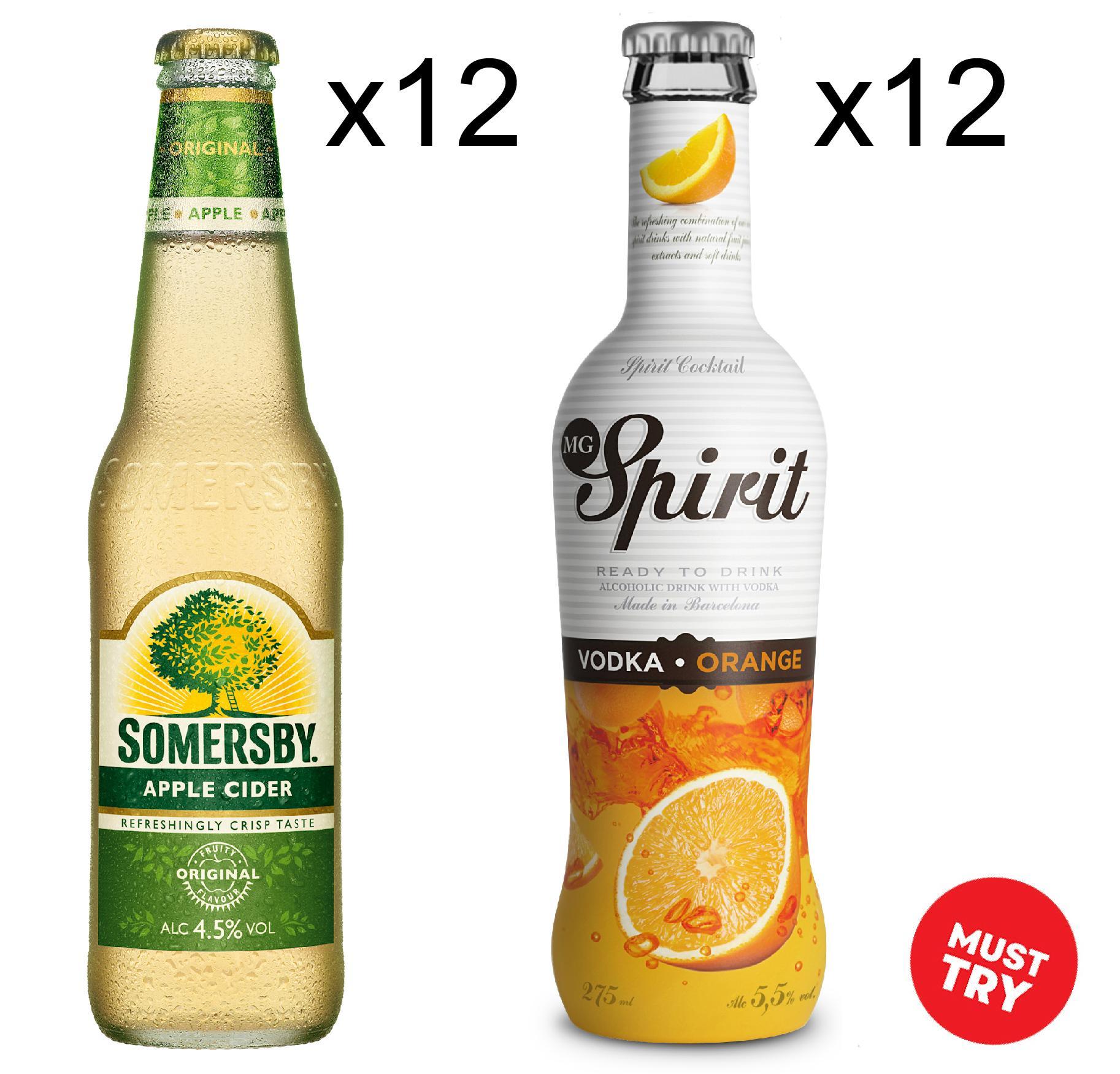 Somersby Apple 12x330ml + Mg Orange 12x275ml (fresh) By Newcastle Drinks.