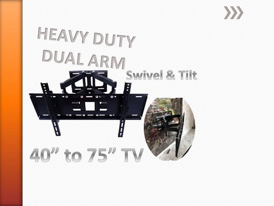 Heavy Duty DOUBLE Swivel Arm wall mount TV bracket