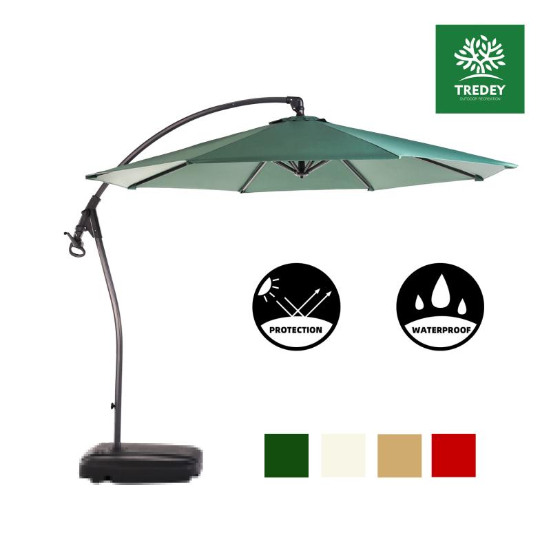 TREDEY 3M Patio Garden Umbrella Outdoor Market Table Round Umbrella with Crank and Push Handle For Garden,Pool,Market,Patio(NO BASE)