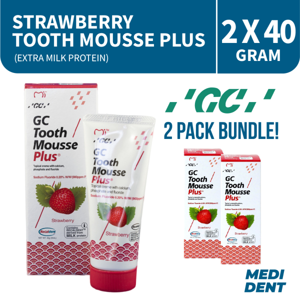 Buy GC TOOTH MOUSSE PLUS WITH EXTRA MILK PROTEIN STRAWBERRY 40G [BUNDLE OF 2] Singapore