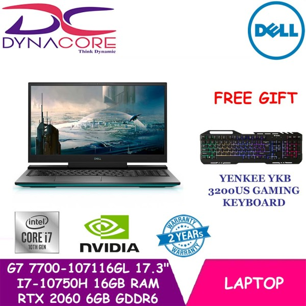 【DELIVERY IN 24 HOURS】 DYNACORE - DELL G7 17 7700 GAMING LAPTOP | 17.3inch | i7-10750H | 16GB RAM | 1TB SSD | RTX 2060 6GB GDDR6 | WIN 10 HOME | 7700-107116GL