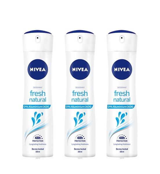 Buy (BUNDLE OF 3) NIVEA DEODORANT SPRAY (L) FRESH NATURAL 150ML Singapore