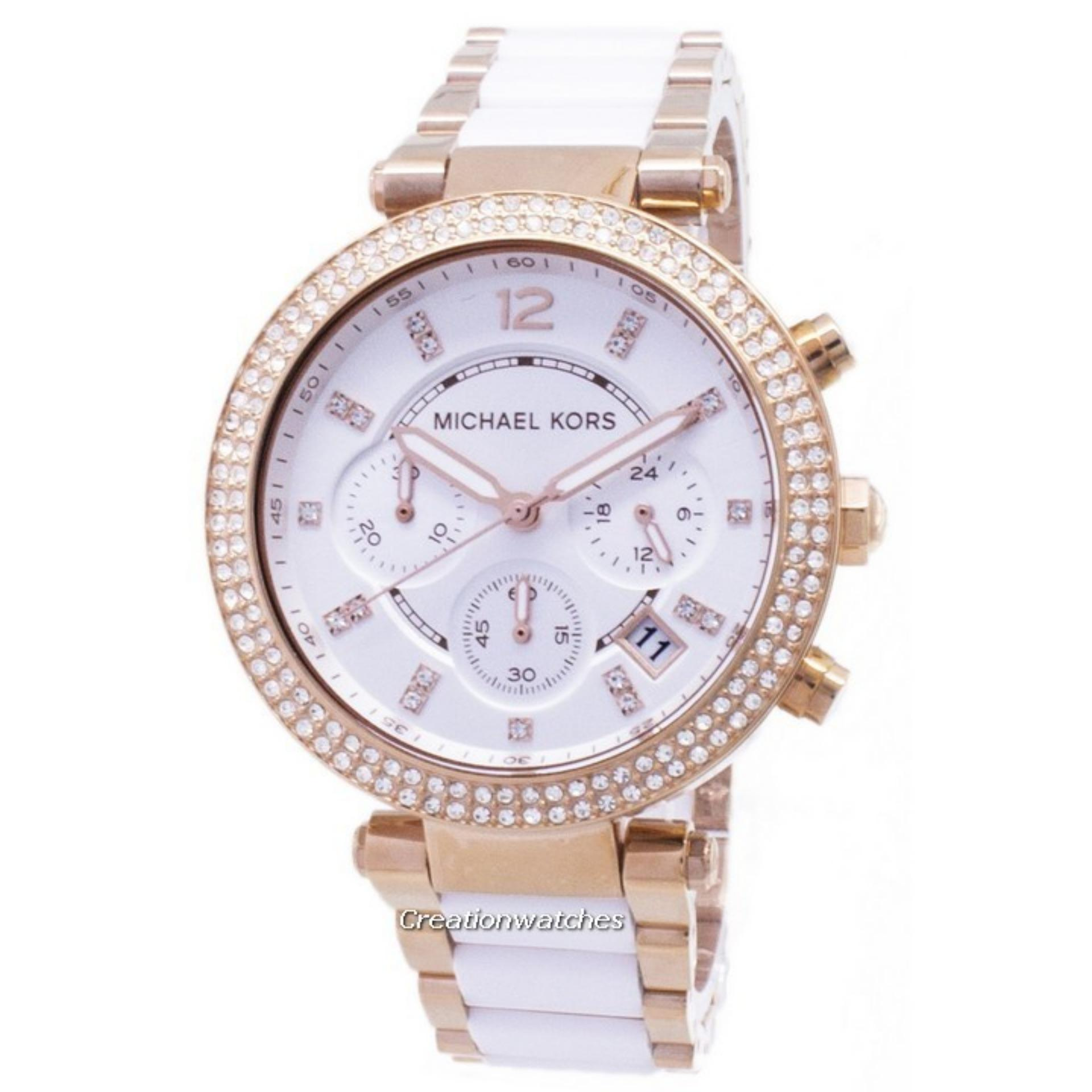 fe1bf38674a2 Singapore. Michael Kors Parker Chronograph Crystals Women s Two Tone  Stainless Steel Strap Watch MK5774