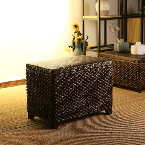 Rattan Vintage Storage Chair Storage zuo xiang TechA Foyer Shoes Rack Chinese Style Wooden Ball Footstool Can Storage of Shoes Rack