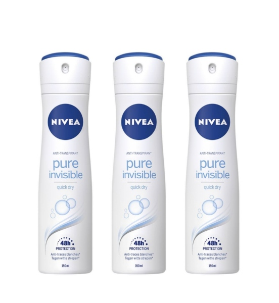 Buy (BUNDLE OF 3) NIVEA DEODORANT SPRAY (L) PURE INVISIBLE 150ML Singapore