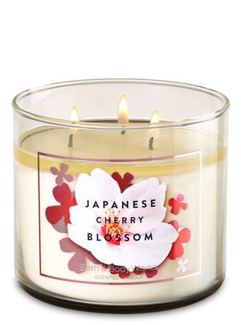 Bath & Body Works White Barn JAPANESE CHERRY BLOSSOM 3-Wick Candle