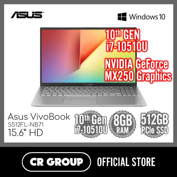 Asus VivoBook S15 S512FL 15.6 Inch FHD | Intel i7-10510U | 8GB DDR4 RAM | 512GB PCle SSD | NVIDIA GeForce MX250 Graphics