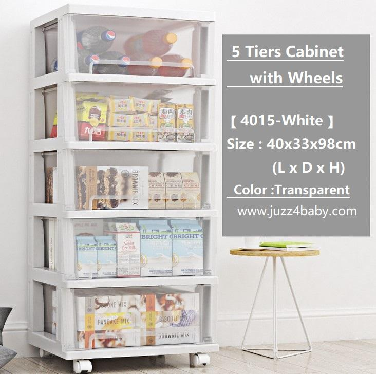 5 Tiers Transparent Moving Storage Cabinet with Wheels