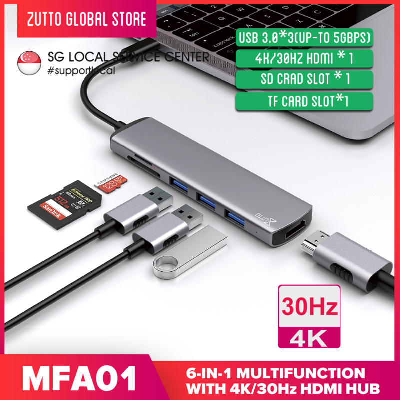 【Local SG Support】Zutto MFA-01 USB C Hub, 6 in 1 Multi-Function Dongle Adapter Fast Speed, USB C to HDMI 4K, SD/TF Card Reader and 3 USB 3.0 Ports for MacBook Pro, Google Chromebook, Samsung Galaxy S8/S9 and Other USB C Devices