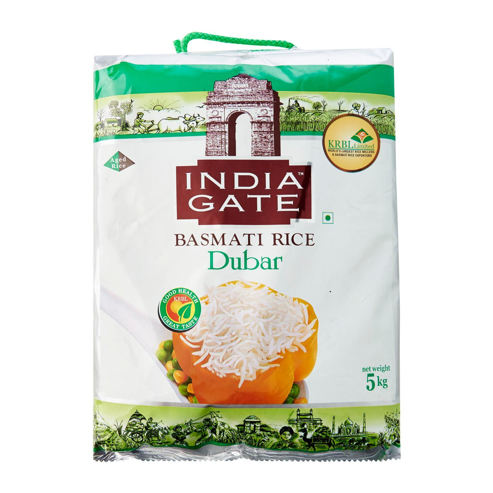Indiagate Dubar Basmati Rice 5 Kg Increased Quantities Of Minerals, Vitamins, Fiber And 2 Years Aged, Grown In India Farmland, Handpicked, Tasty And Suitable For Daily Consumption By Merlion Mart.