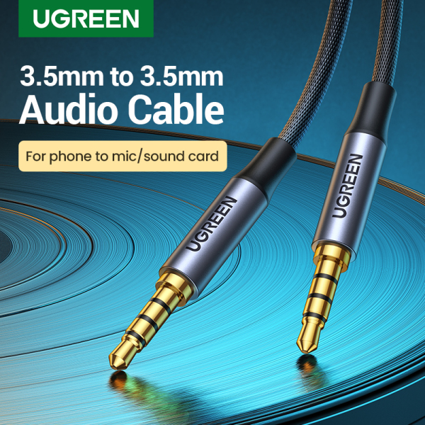 UGREEN 3.5mm to 3.5mm 4-pole Audio Cable Humanized Design Gold-plated Audio Cable For Sound Card Microphone  Speaker Phone Computer Tablet MP3 TV Headset 2m 3m Singapore