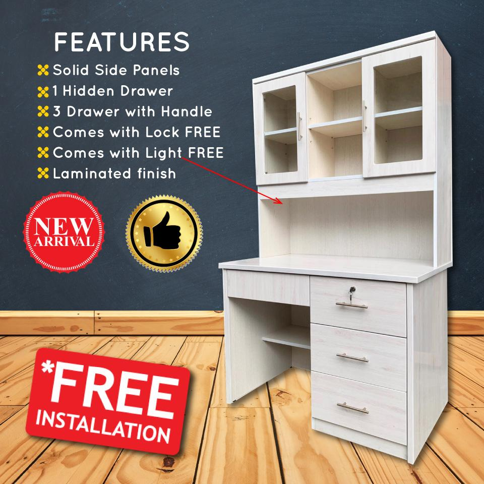 [A-STAR] Mila Study Writing Table Desk for Home/Office with TOP cabinet (FREE Light install!)