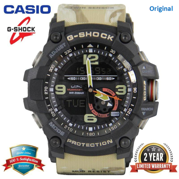 Original G-Shock GG1000 MUDMASTER Men Sport Watch Dual Time Display 200M Water Resistant Shockproof and Waterproof World Time White LED Auto Light Compass Thermometer Sports Wrist Watches GG-1000GB-1A Khaki (Ready Stock) Malaysia