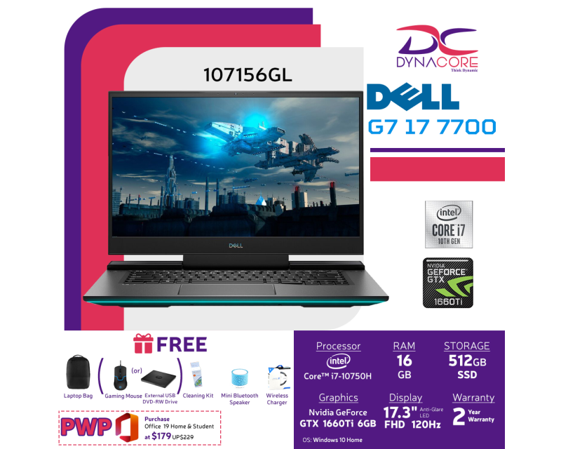 【DELIVERY IN 24 HOURS】 DYNACORE - DELL G7 17 7700 GAMING LAPTOP | 17.3inch | i7-10750H | 16GB RAM | 512GB SSD | GTX1660Ti 6GDR6 | WIN 10 HOME | 7700-107156GL